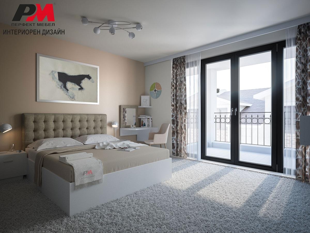 Красив интериор на спалня, издържан в семпла модерна цветова гама