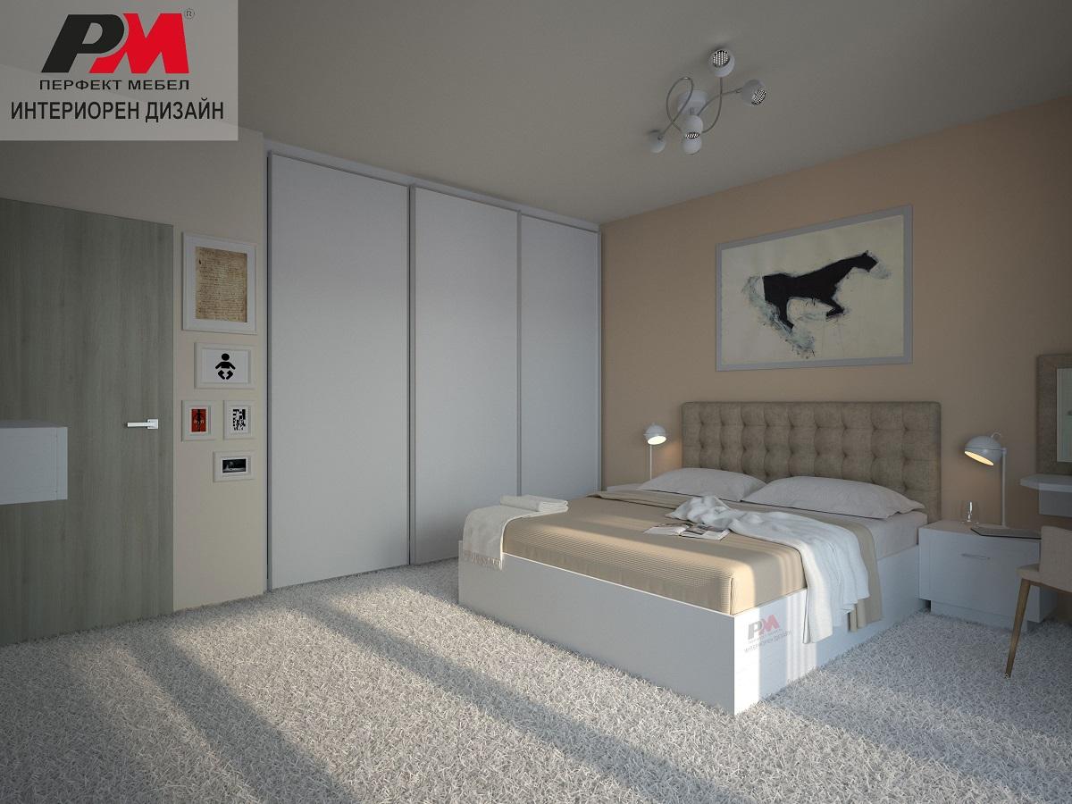 Луксозен интерорен проект на спалня в бяло и кремави тонове