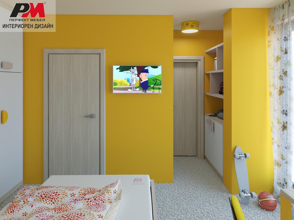 Ярък интериорен проект на детска стая за момиче с модерно обзавеждане
