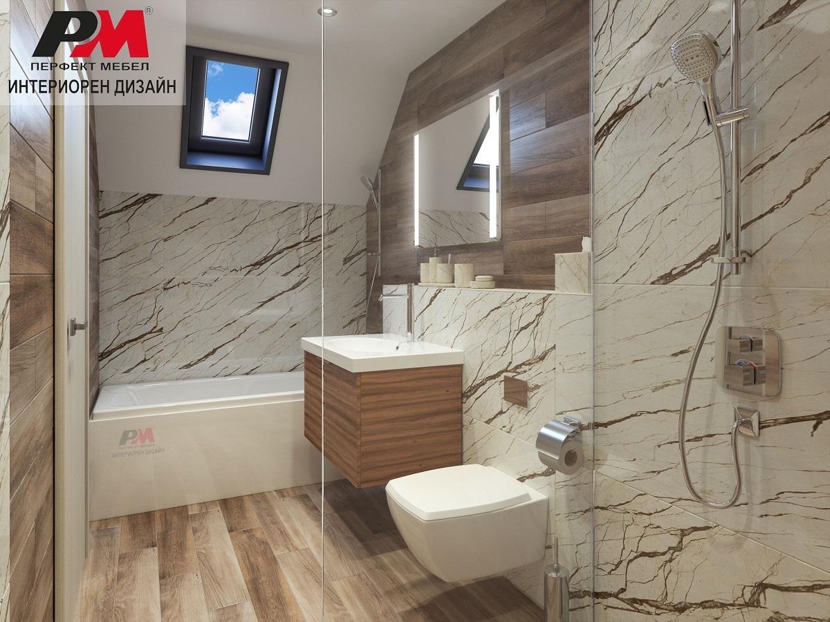 Моден инртериор на съвременна баня в светли и дървесни декори