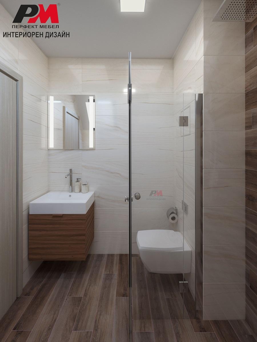 Интериорен проект на баня в меки пастелни тонове