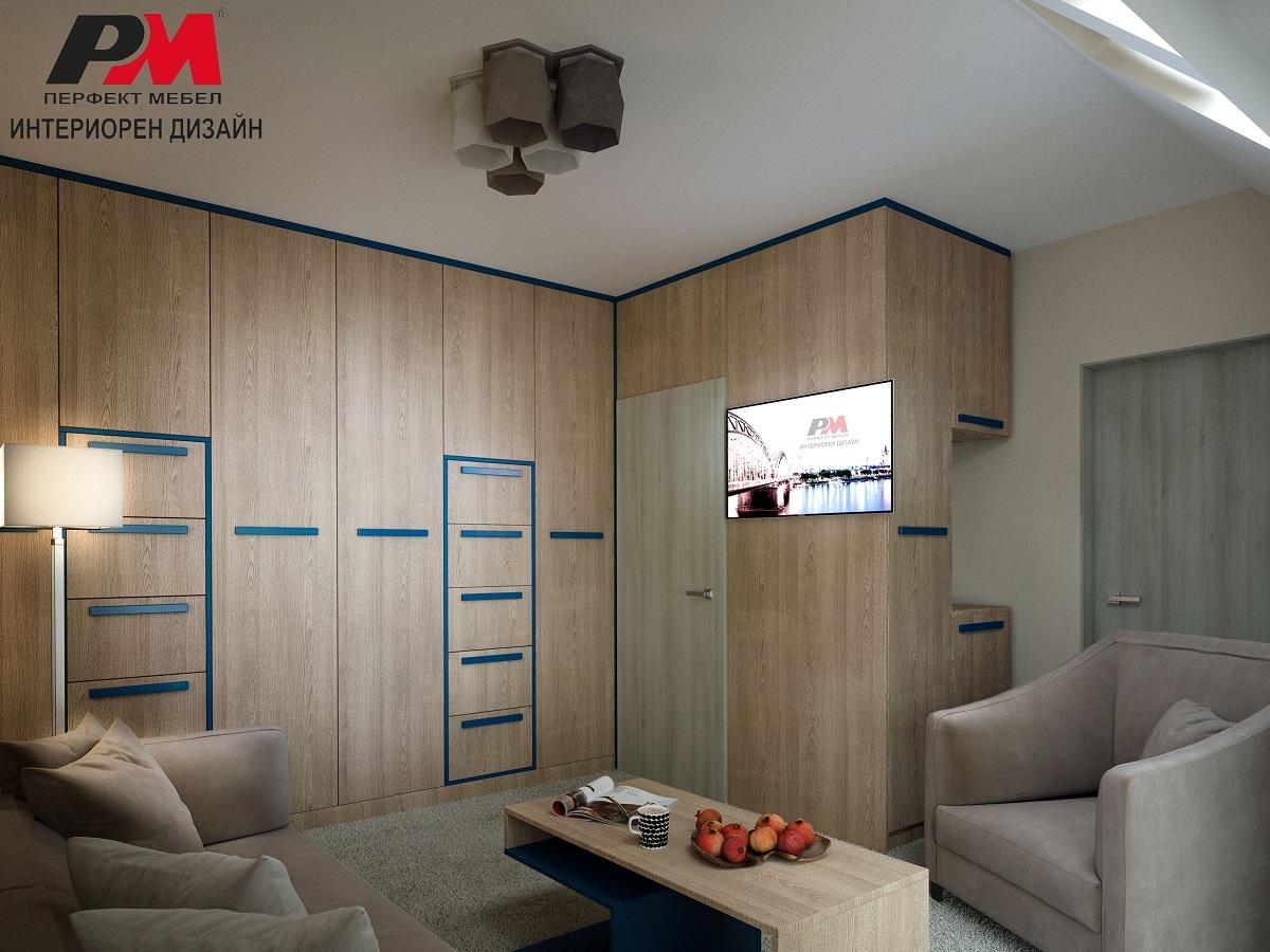 Модерно решение за съхранение на вещи в интериора на гостна стая.