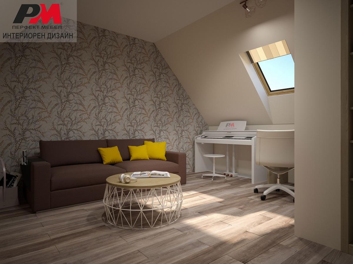 Елегантно излъчване в дизайна на подпокривно пространство в модерен стил.