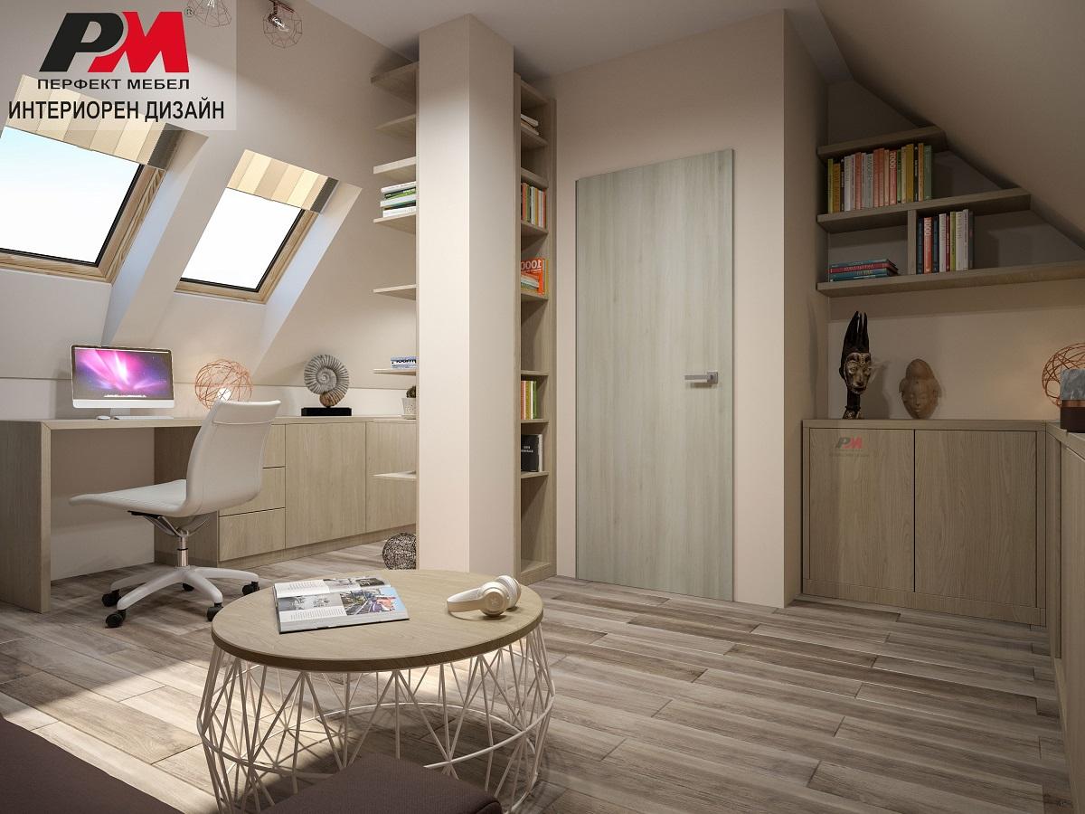 Модерен дизайн на подпокривно помещение с изчистена визия.