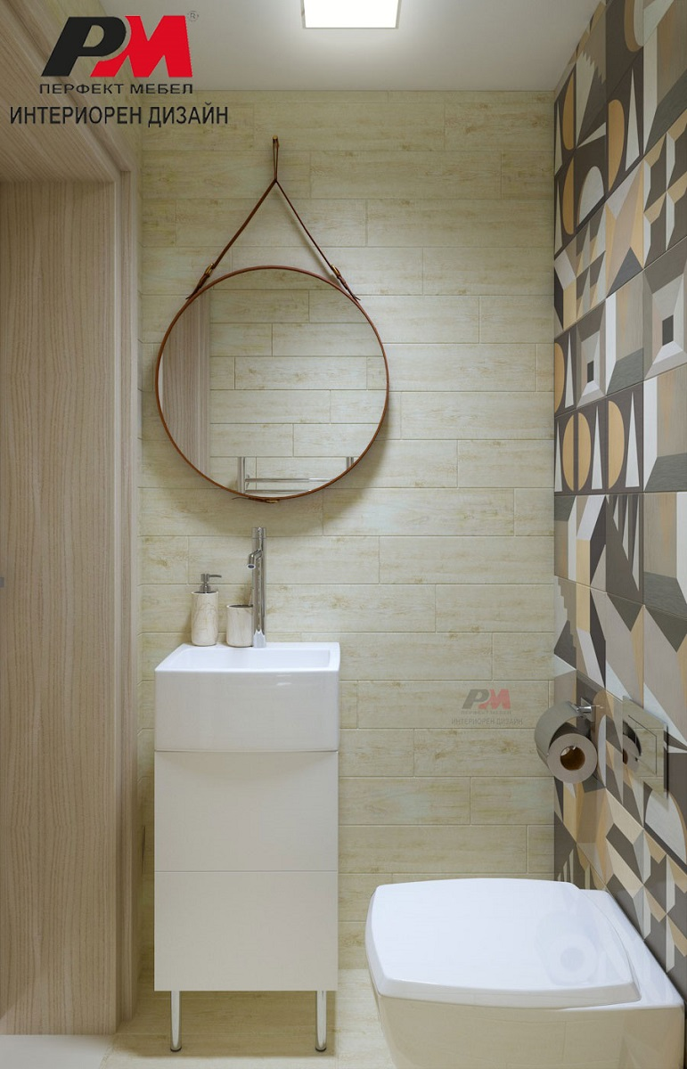 Елегантна малка тоалетна в модерен стил.
