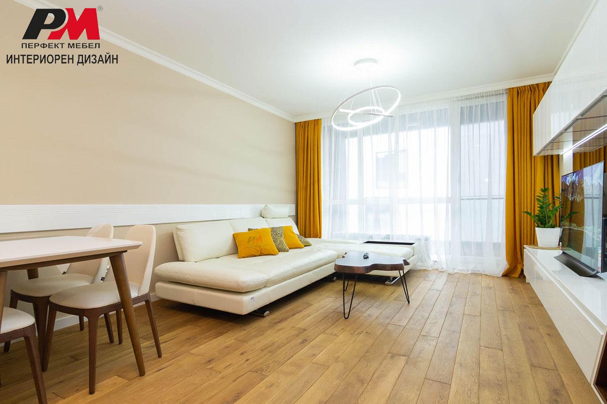 Артистична и уютна атмосфера в дневната на модерното градско жилище
