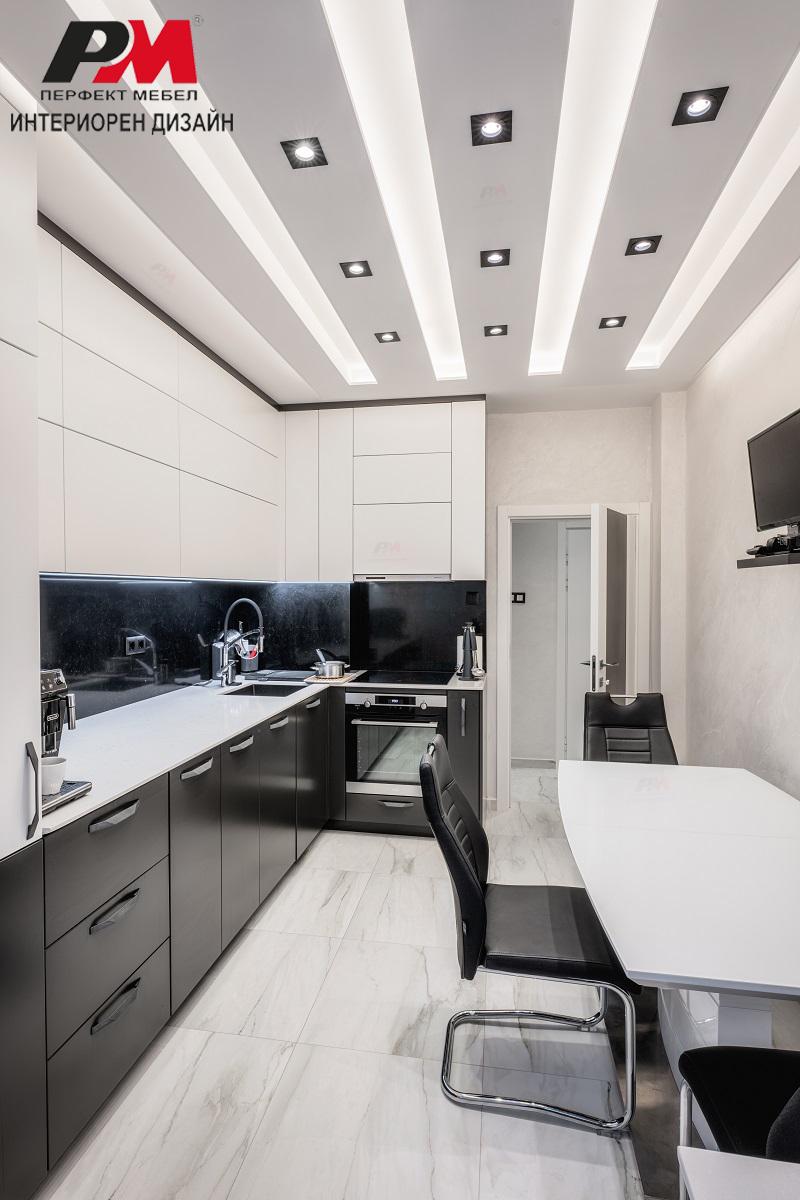 Оригинално и модерно интериорно решение на кухня в бяло и графит сиво